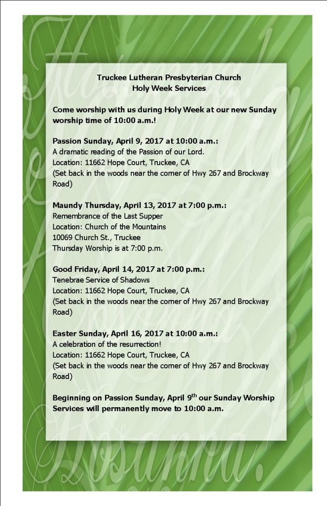 Holy Week Worship Schedule 2017 2 per page